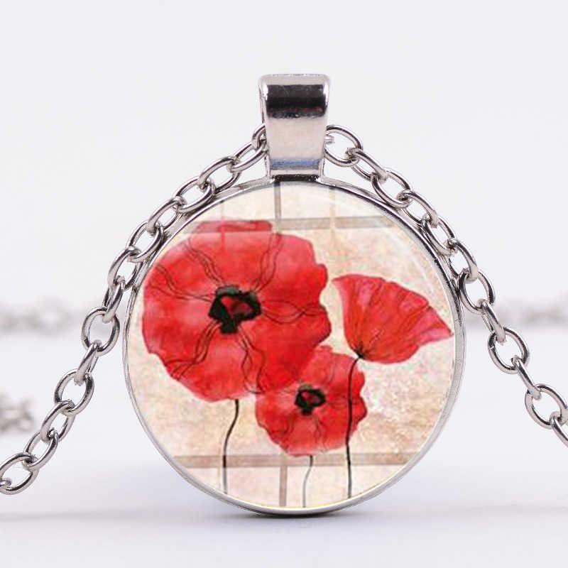 Sian Baru Panas Tanaman Liontin Kalung Merah Pesona Bunga Alami Buatan Tangan Kaca Bulat Kalung Bunga Kecil Gambar Seni Perhiasan