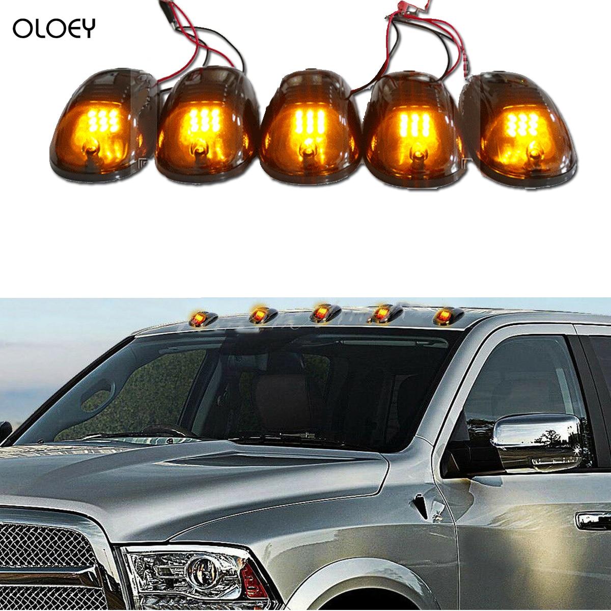 12-24V 5 Smoked Black 12 LED Cab Roof Top Marker Running Clearance Light For Dodge Ram Yj Wrangler Tacoma Car Side Marker Lights
