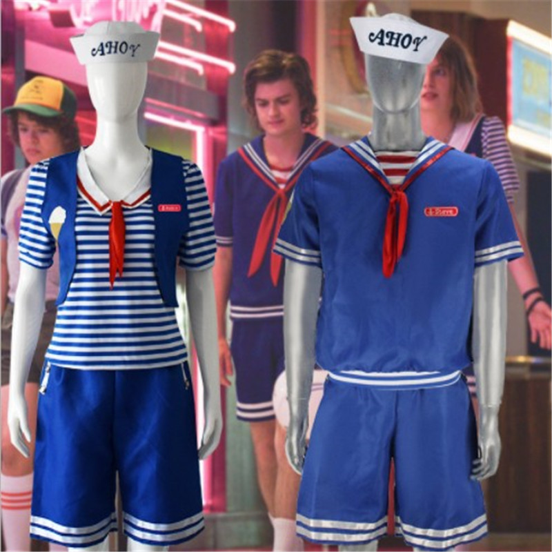 4 Pieces Stranger Things 3 Cosplay Scoops Ahoy Robin Steve Costume Adult Sailor Uniform T-shirt Shorts Hat Halloween Outfits