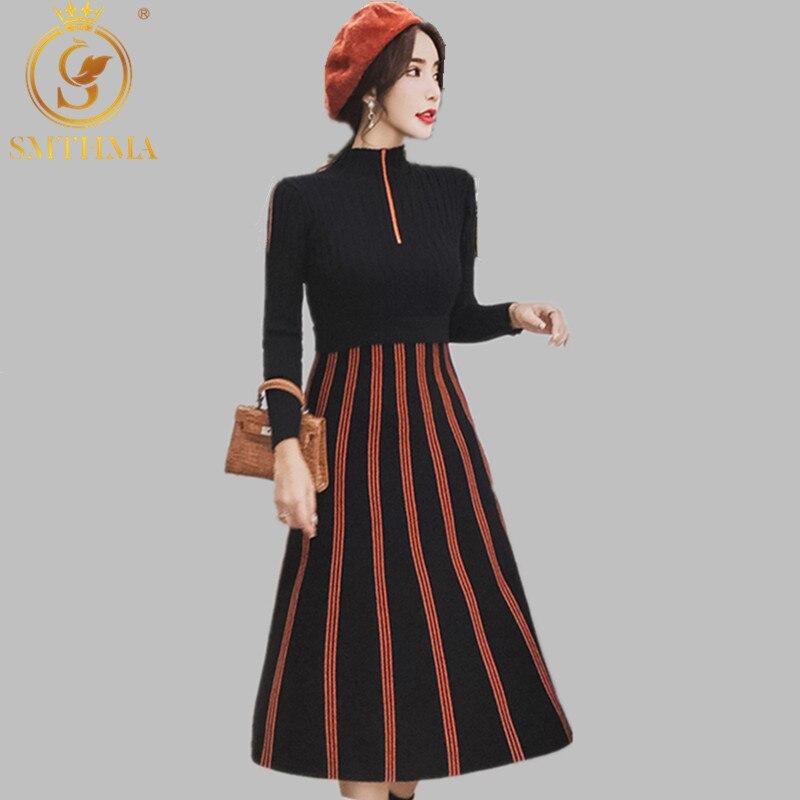 SMTHMA New Autumn Winter Stripe Knitted Sweater Dress Women Sexy Long Sleeve Midi Dress Elegant Warm Slim Runway Dress Vestidoes