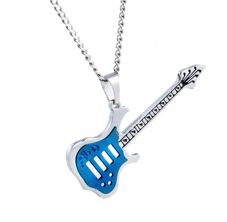 <font><b>Guitar</b></font> Couples <font><b>Necklace</b></font> Music Lovers Stainless <font><b>Steel</b></font> Ornament <font><b>Necklace</b></font> Yiwu Choker Men and Women Pendant <font><b>Necklace</b></font> image