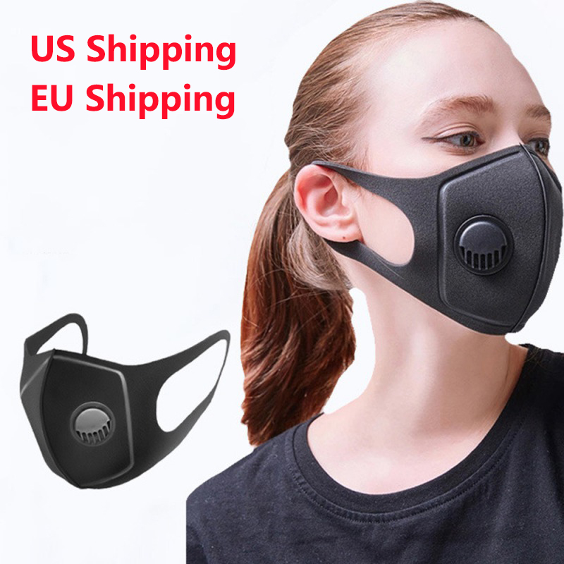 1pc Black Anti Dust Mask PM2.5 Breathing Filter Valve Face Mouth Masks Reusable Mouth Cover Haze Respirator For Men Women