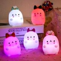 Luz nocturna para niños, juguete para regalo luminoso, 6,5 cm, cambio de Color, luces de fiesta, Mini bebé suave
