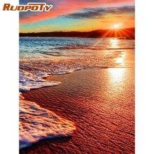 RUOPOTY çerçeve sayılar tarafından Diy boyama günbatımı sahil manzara boyama By Numbers akrilik tuval boyama Handpainted yapıt