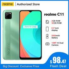 Realme c11 rmx2185 6.5 global global global 2gb ram 32gb rom helio g35 5v/2a carregador 5000mah 13mp ai câmera dupla octa núcleo 4g telefone móvel
