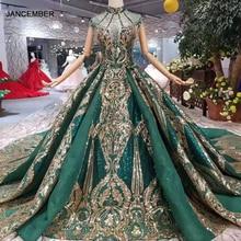 LS11093 럭셔리 그린 이브닝 드레스 숙녀 높은 목 캡 슬리브 크리스탈 파티 드레스와 황금 레이스 두바이 스타일의 실제 사진