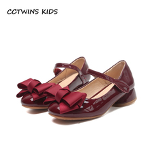 CCTWINS KIDS 2020 Baby Girl Party Princess Toddler Bow Pink Pu Leather Shoe Children Mid Heel Kid Fashion Black Shoe G1126