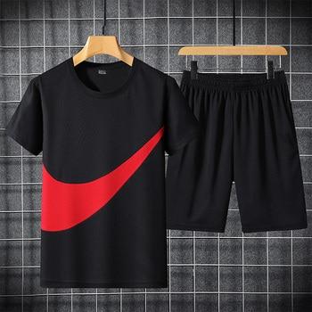 2021 New Men's T-shirt + Sports Shorts Set Summer Breathable Casual T-shirt Running Set Fashion Harajuku Printed Male Sport Suit 1