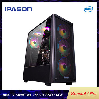 IPASON Gaming Desktop Intel I7 6400T es QHQG ES Engineering version  2.2GHz 16G RAM 256G SSD High Performance Diy Gaming Desktop