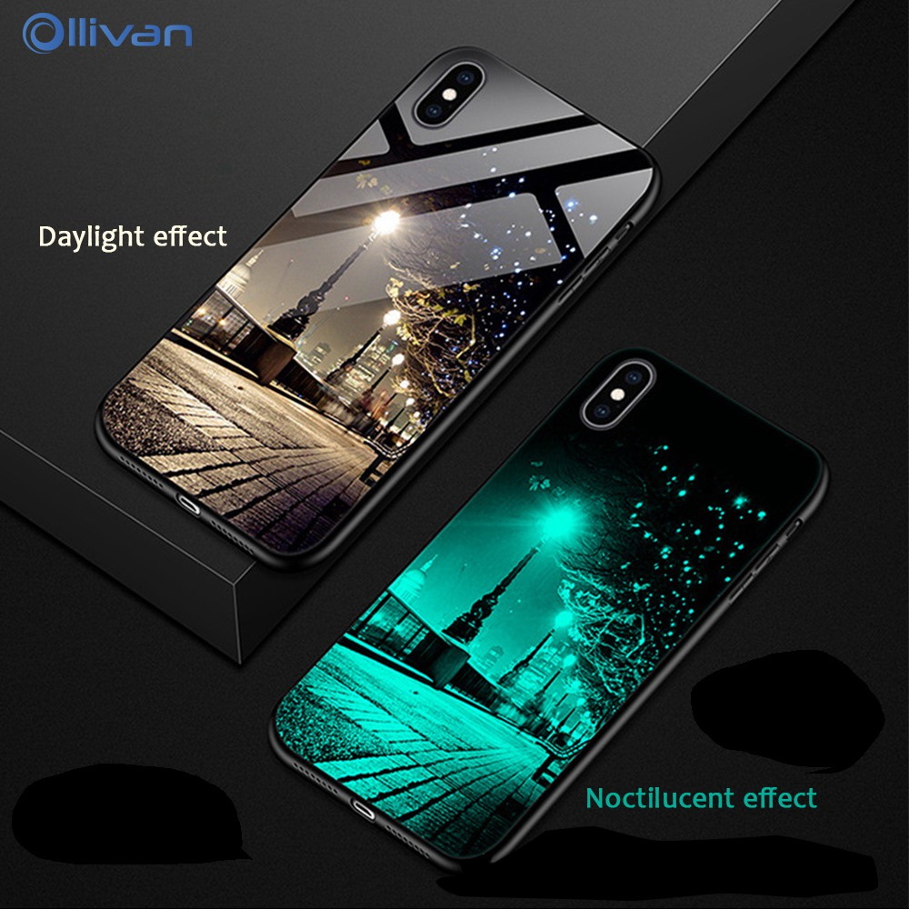 <font><b>Luminous</b></font> Tempered Glass <font><b>Case</b></font> For <font><b>iPhone</b></font> 11 Pro Xs Max Xr <font><b>6</b></font> 6s 7 8 Plus 5 5S Cover Luxury Letter Meteor <font><b>Case</b></font> For <font><b>iPhone</b></font> 11 Coque image