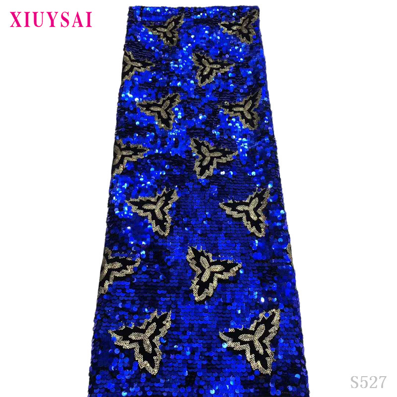 Latest African Net Lace Fabric 2020 High Quality Sequins Tulle African Laces Fabric Wedding African French Tulle Lace BLUE SL527