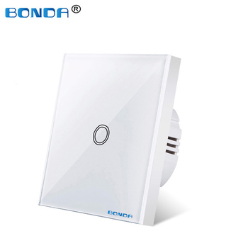 Wall switch, EU standard, white crystal, tempered glass panel, touch switch, Ac220v, 1 set, 1 way, wall light, wall touch screen eu uk standard light wall touch screen switch ac110 240v touch switch crystal glass panel 1 2 3 gang 1 way wall touch switch