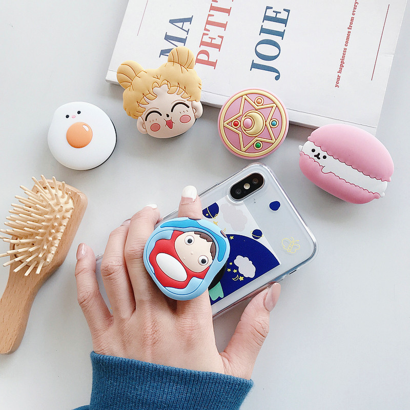Cute Sailor Moon Folding Stand Holder For Mobile Phone Case 3D Cartoon Grip Finger Holder For Iphone 11 For Huawei Phone Case
