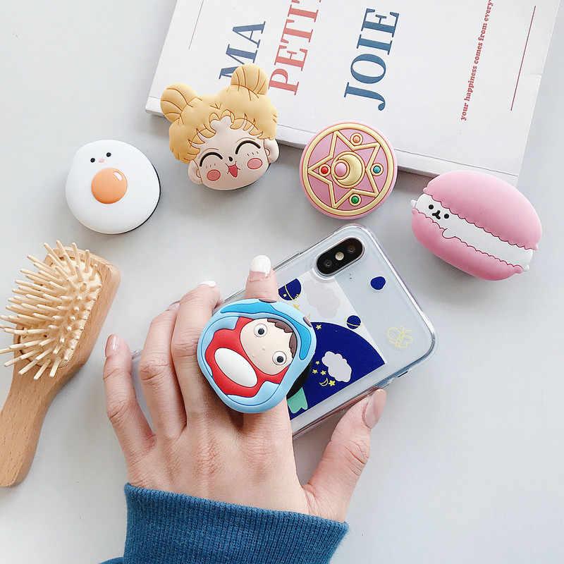 Leuke Sailor Moon Opvouwbare Stand Houder Voor Mobiele Telefoon Case 3D Cartoon Grip Vinger Houder Voor Iphone 11 Voor Huawei telefoon Case
