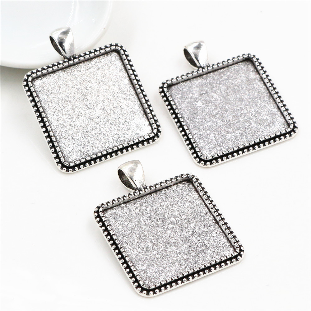 New Fashion 3pcs 25mm  Inner Size Antique Silver Square Cabochon Base Setting Charms Pendant (A7-12)