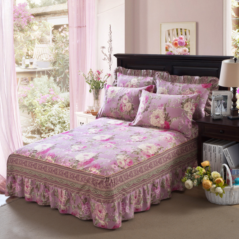 Yaapeet Bedcover Floral Fitted Sheet Cover Bedspread Bedroom Bed Skirt Full Twin Queen King Size Bed Sheets No Pillowcase