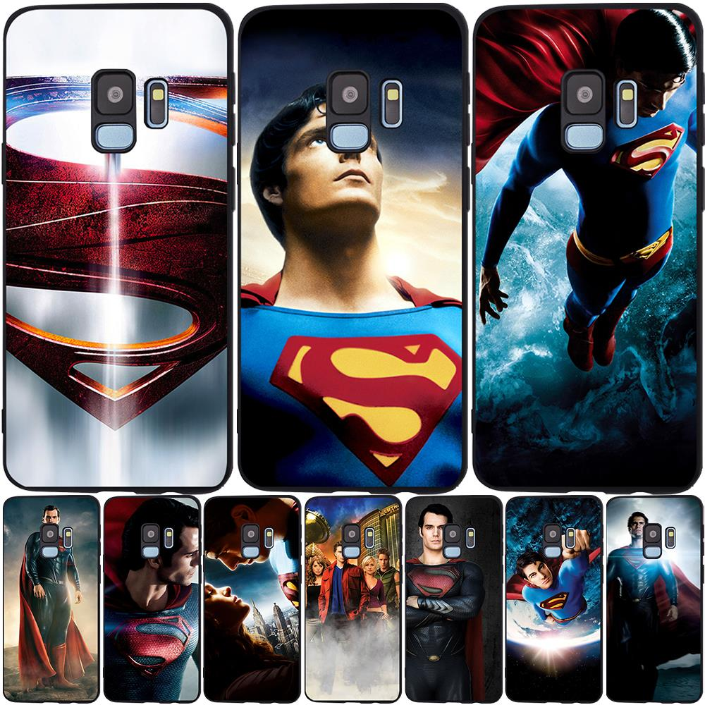 DC Comics Super hero Superman Black Phone <font><b>Case</b></font> For <font><b>Samsung</b></font> S11 S10 S9 S8 Plus <font><b>S7</b></font> <font><b>Edge</b></font> S10E S11E J4 J6 2018 Plus Cover Etui <font><b>case</b></font> image