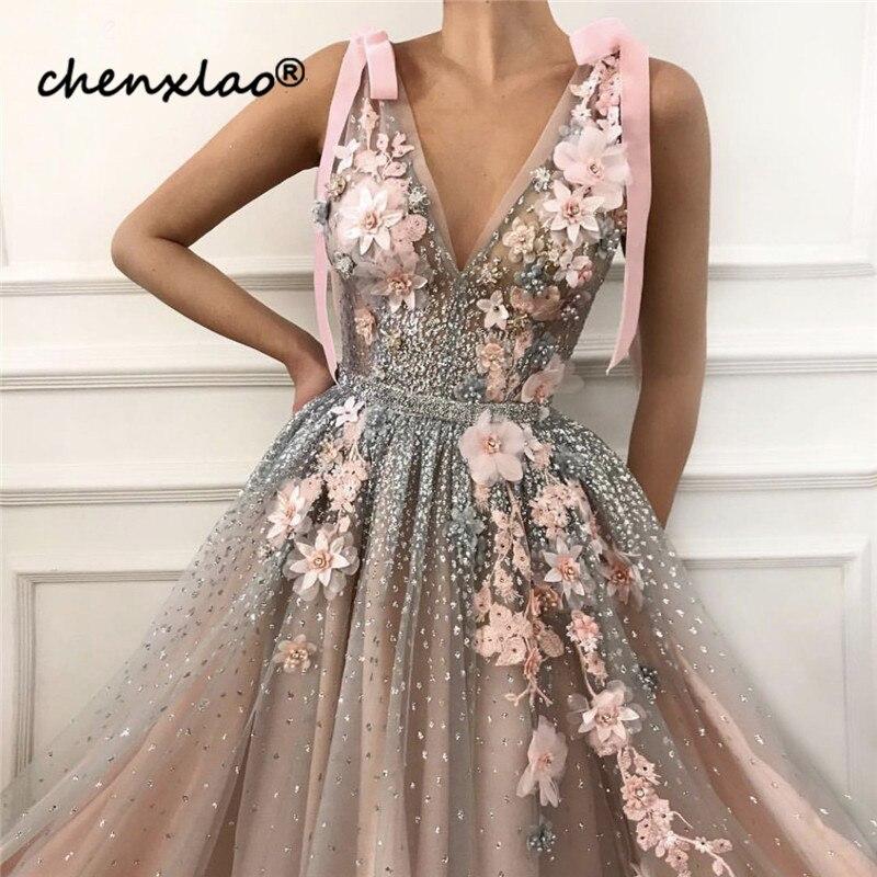 Pink-V-Neck-Diamond-Pearls-Sexy-Evening-Dresses-Handmade-Flowers-Sleeveless-Tulle-Evening-Gowns-2019-Serene (1)