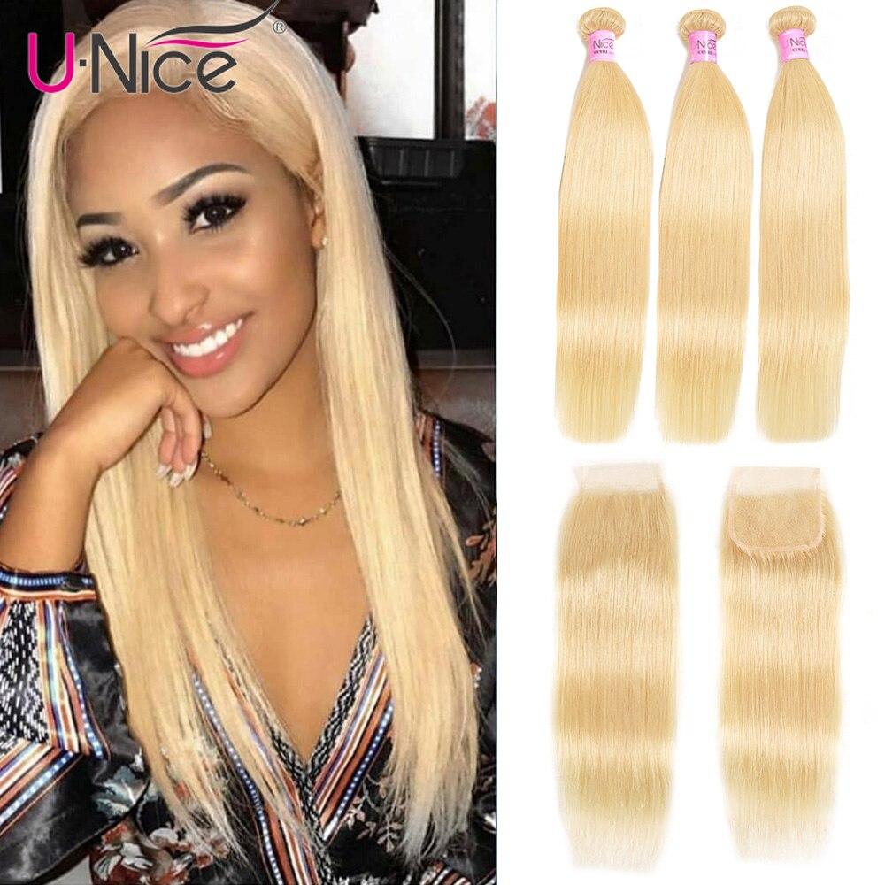 Unice Hair 613 Blonde Bundles With Closure Brazilian Remy Straight Human Hair 3 Bundles With Closure 100% Remy Human Hair