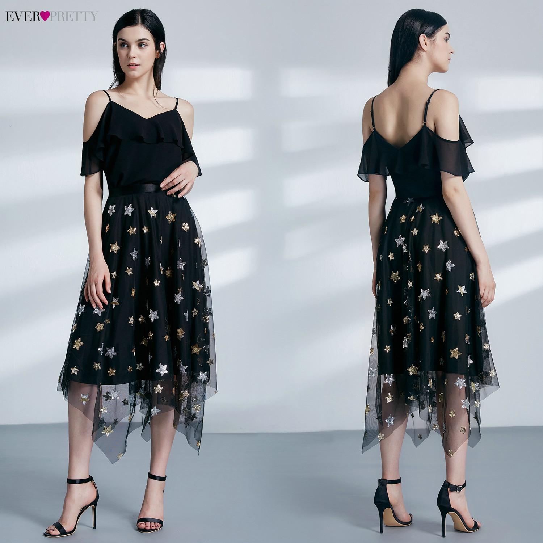 Image 5 - Black Homecoming Dresses Ever Pretty Asymmetrical Spaghetti Straps Embroidery Sparkle Tulle Dresses Vestido Festa Curto 2020Homecoming Dresses   -