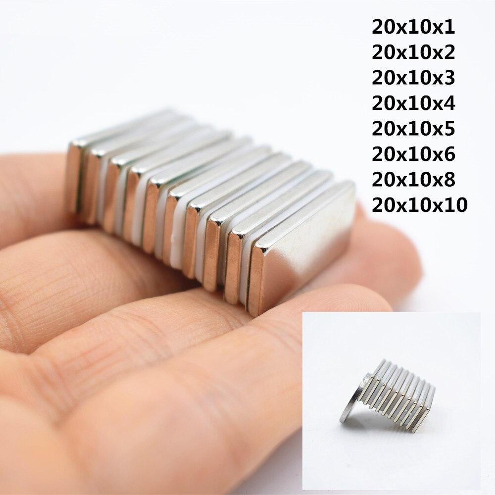 5/10 pièces Super fort bloc aimant néodyme cuboïde 20x10x1/2/3/4/5/6/8/10mm N35 aimant de terre Rare aimant carré réfrigérateur électro-aimant