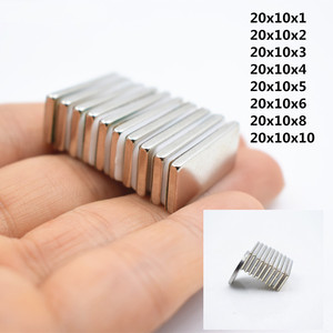 5/10pcs Super Strong Neodymium Magnet Block Cuboid 20x10x1/2/3/4/5/6/8/10mm N35 Rare Earth Magnet square fridge Electromagnet(China)