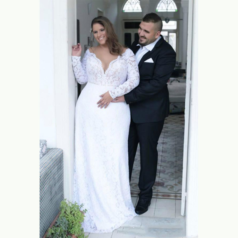 Sevintage Cheap Plus Size Wedding Dresses Deep V Neck Sheath Long