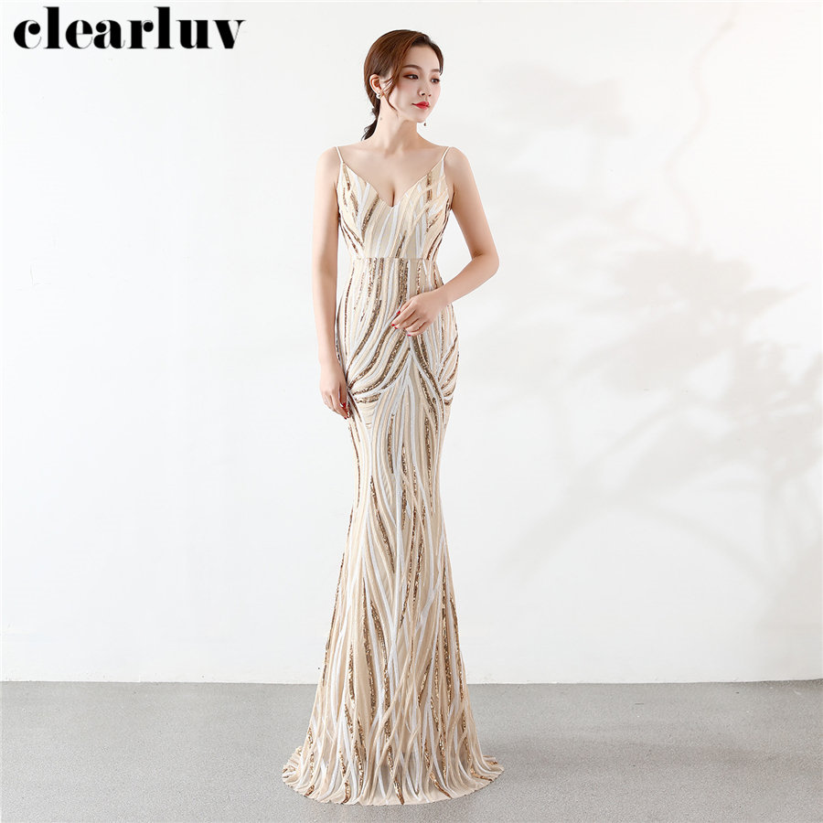 Backless Mermaid Evening Dresses Stripe Color Matching Women Party Dress DX247-3 2019 Plus Size Robe De Soiree Sling Formal Gown