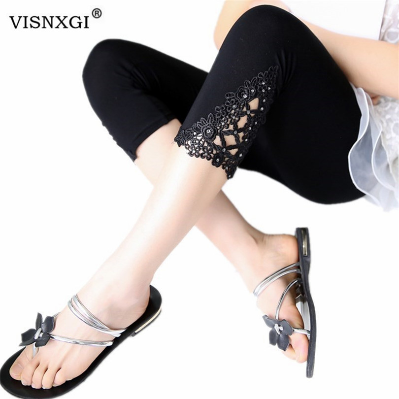 VISNXGI Women Summer Pants High Elastic Capris Hollow Out Lace Diamond Splicing Solid Seven Skinny Length Pants Female Trousers