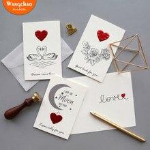 Романтическое красное сердце поздравительная открытка я люблю тебя навсегда День Святого Валентина карточка с признанием свадебные пригласительные открытки с конвертами