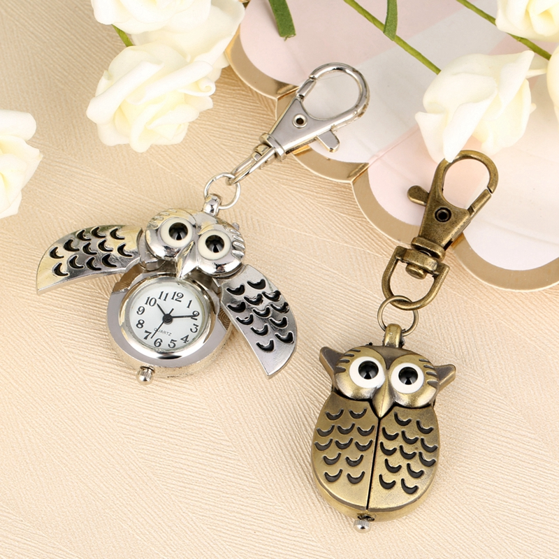 Bronze Cute Owl Keychains Pocket Watch Fob Chain Golden Key Chains Flip Case Hour Clock Animals Pocket Watches For Men Women Kid