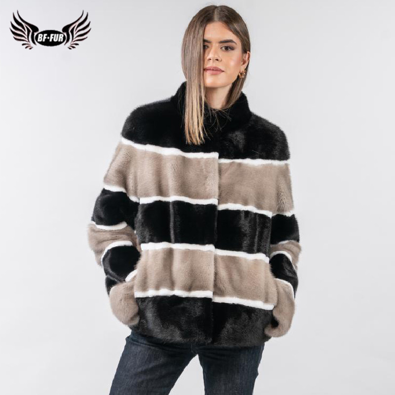 2019 Fashoin Real Mink Fur Jacket For Women Russian Winter Whole skin Natural Mink Fur Coat With Stand Collar Overcoat Luxury