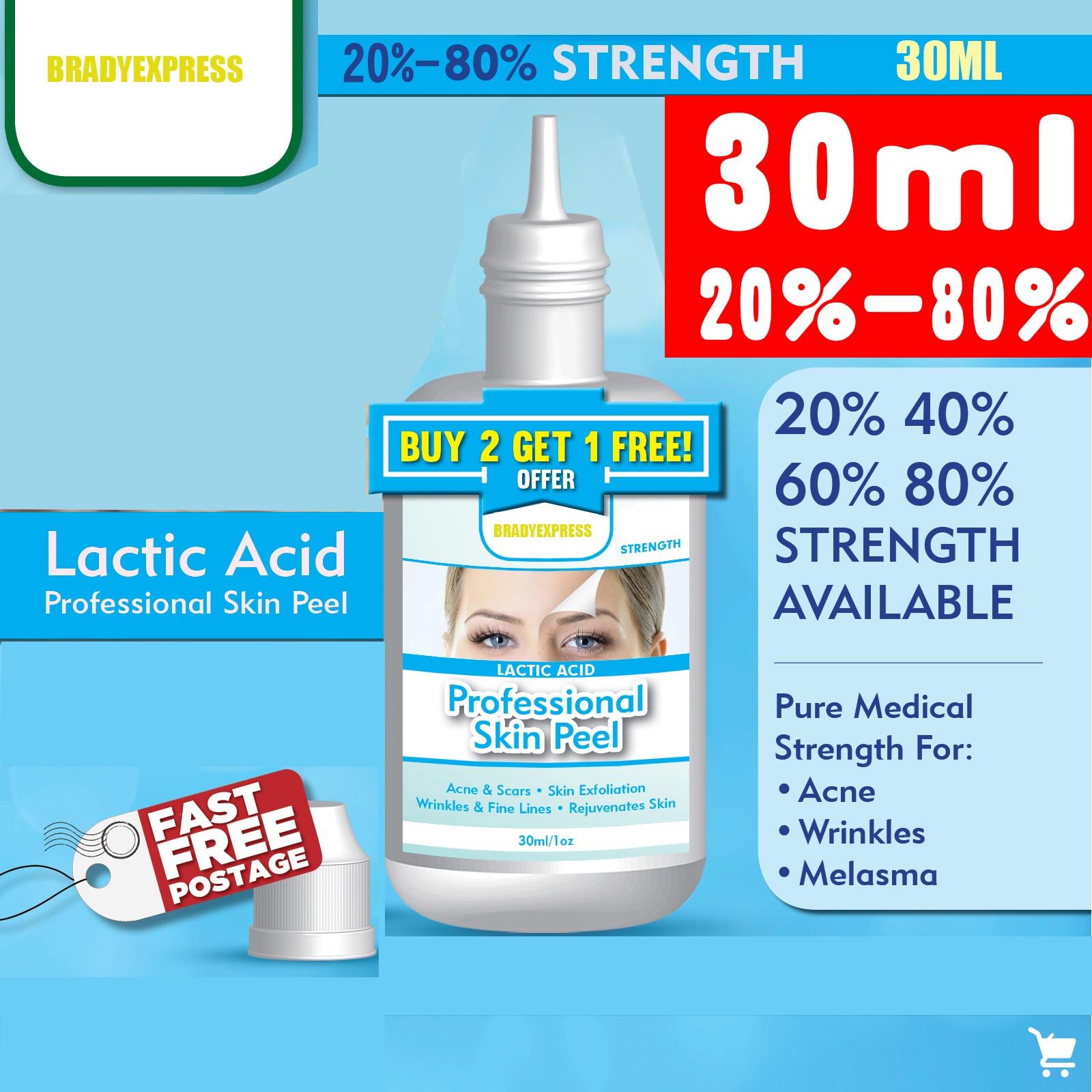 30ML LACTIC Acid Skin Peel For Acne Wrinkles Melasma Age Spots 20% 40% 60% 80%