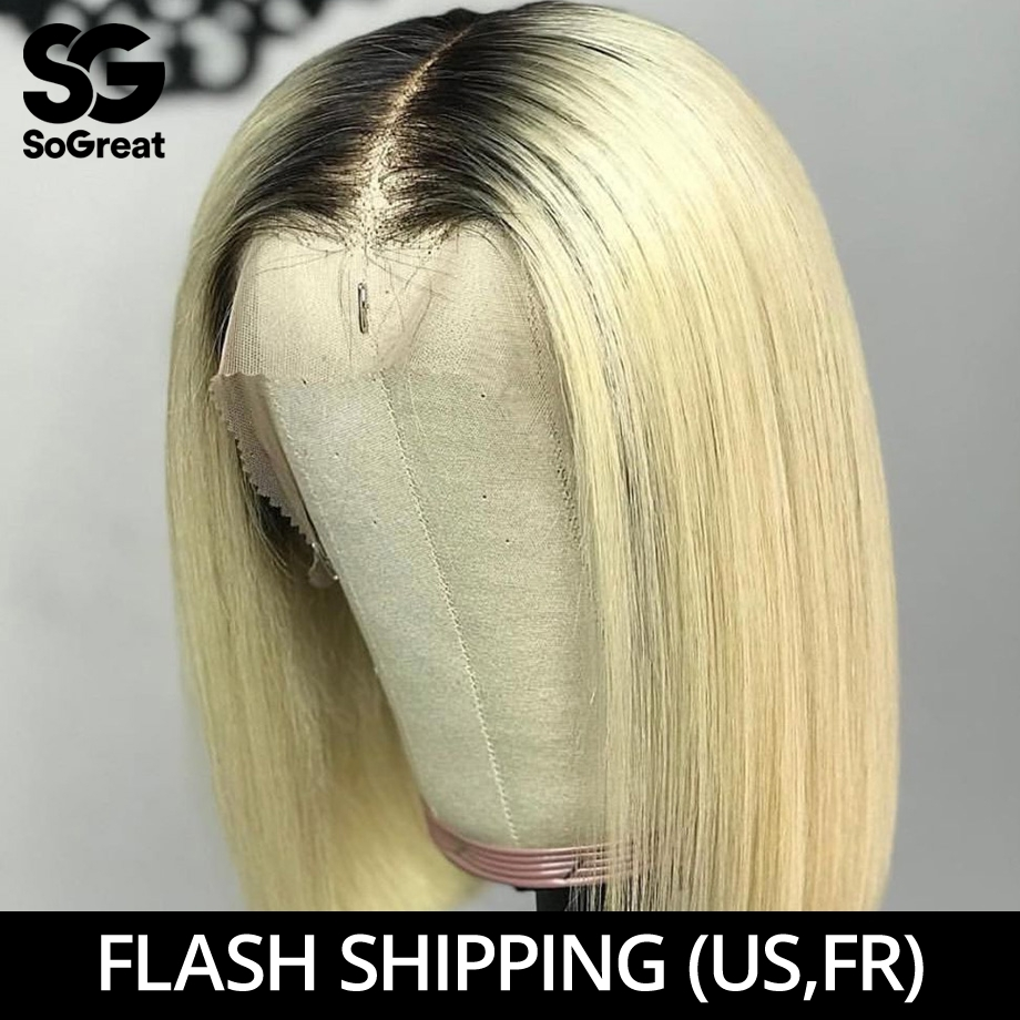 Lace Front Human Hair Wigs Blonde Short Straight HD Ombre 613 Burgundy Bob Wig Long Brazilian Pre Plucked For Black Women Remy