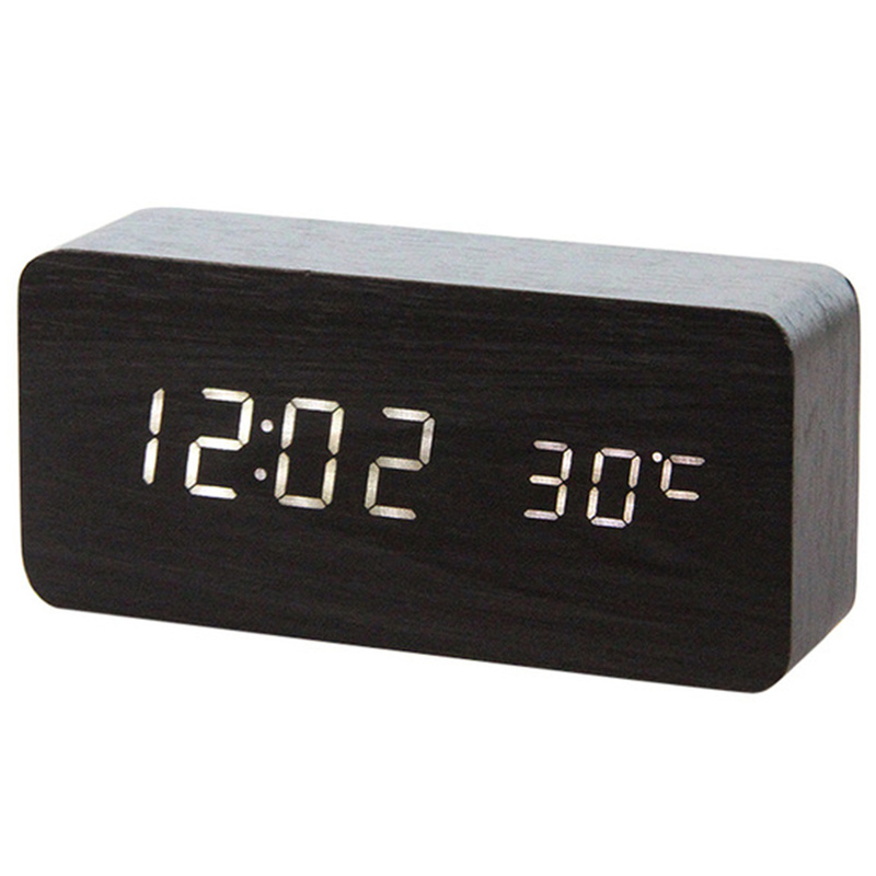Wooden LED Alarm Clocks Temperature Electronic Clock Sounds Control Digital LED Display Desktop Calendar Table Clock