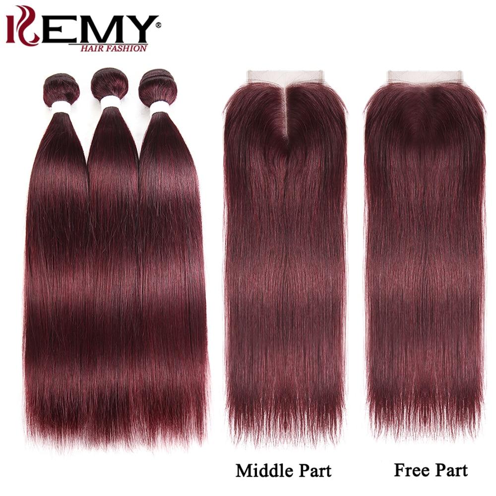 99J/Burgundy Human Hair Bundles With Closure 4x4 KEMY HAIR Brazilian Straight Red Color Hair Weave Bundles With Closure Non-Remy