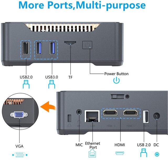 GK3V Gemini Intel J4125 Quad Core Mini PC DDR4 8GB 128GB/256GB SSD Windows 10 Dual WIFI 1000M LAN 4K WIN10 Gaming Mini Computer 2