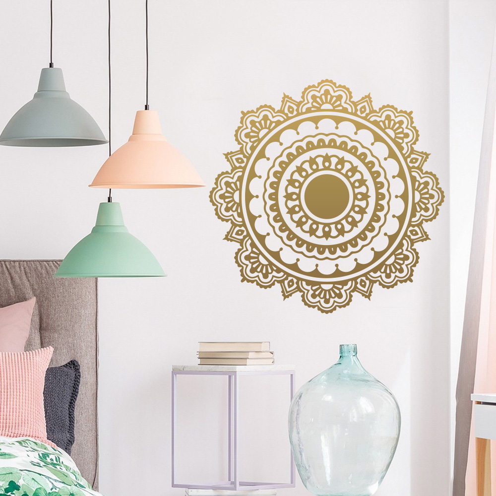 Exquisite Mandala Buddhism India Wall Sticker Living Room Namaste Removable Vinyl Sticker Mural House Decoration Wallpaper LW172 in Wall Stickers from Home Garden