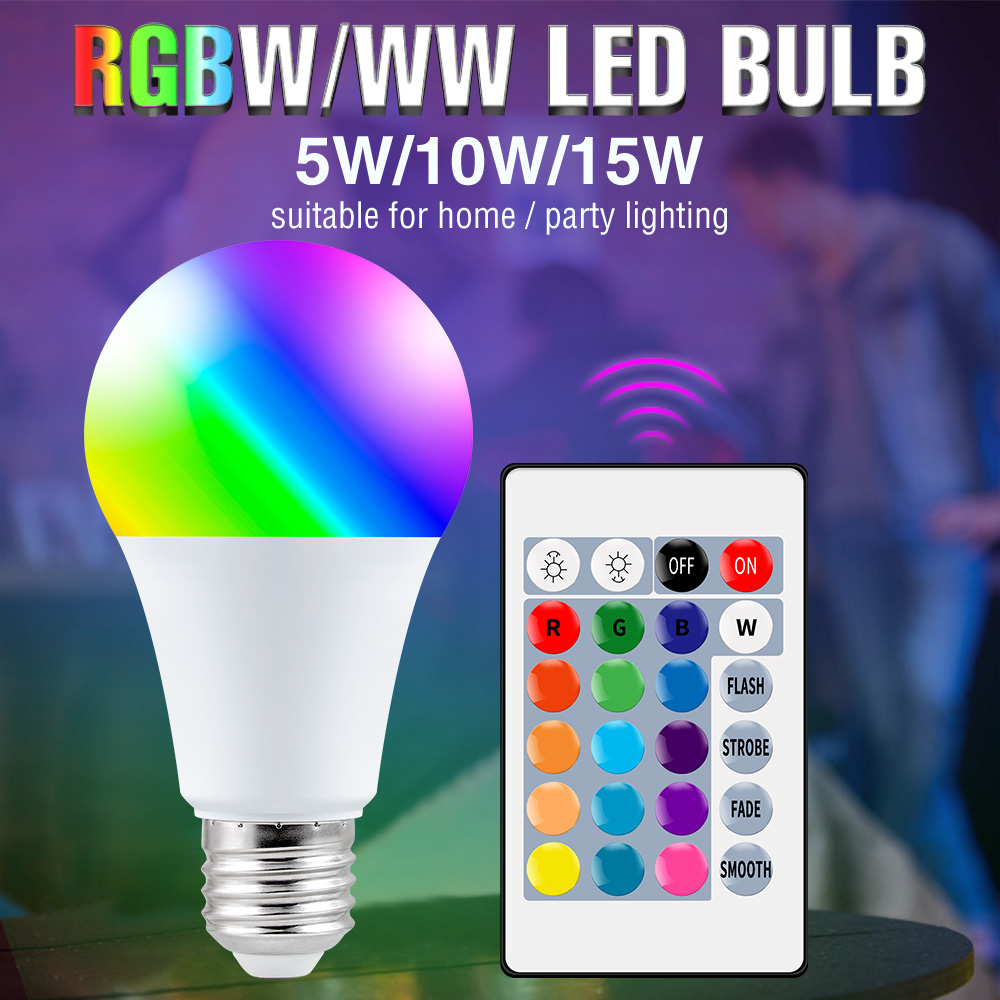 WENNI 220V E27 RGB LED Lamp 5W 10W 15W Bedroom Decoration LED Light 110V RGBW Dimmable LED Colorful Bulb With IR Remote Control