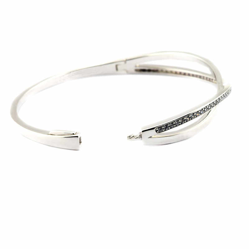 2016 Winter Sterling Silver Sparkling Entwined Bangle With Clear CZ Bangle Bracelet for European Charms Beads