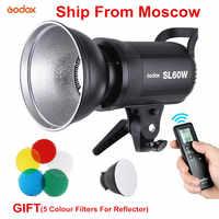 Godox SL60W LED versión blanca luz de vídeo montaje Bowens luz continua con Fiver filtros de Color para grabación de vídeo en estudio