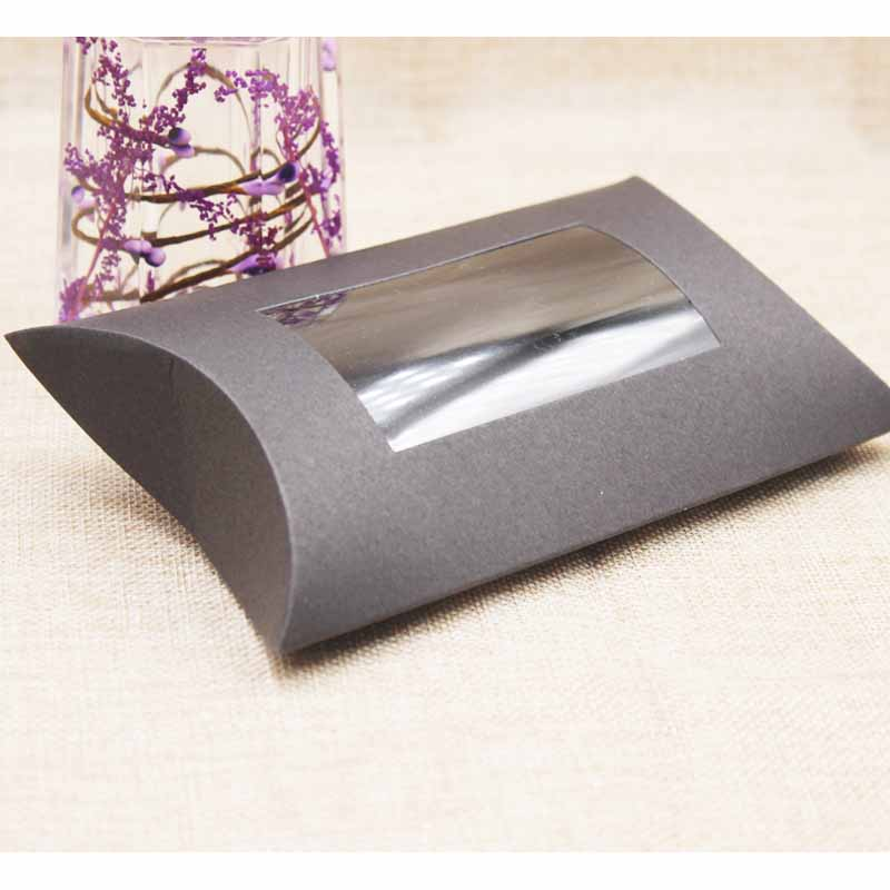 10pc 16*7*2.4cm brown/white/black cardboard pillow window box with clear pvc for proucts/gifts/favors/display packing show 8