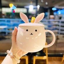 New Style Rabbit Ceramic Mug Cute Water Cup With Lid Spoon Ceramic Mug
