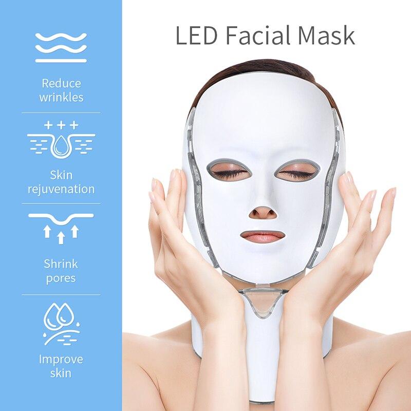 MissHeart 7 Colors Led Light Therapy Acne Mask Neck Led Mask Beauty Therapy Photon Korean Skin Care Led Mask