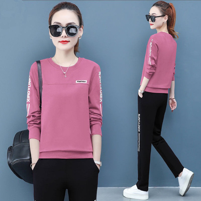 Sports Women's Suit Spring And Autumn New Style Women's Crew Neck Long Sleeve Large Size Slimming Women's Dress Running 2-piece