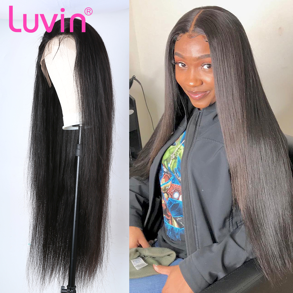 Luvin 26 28 30 40 Inch 13x6 Straight Long Lace Front Human Hair Wigs Brazilian Frontal Wig Black Women Pre Plucked Baby Hair