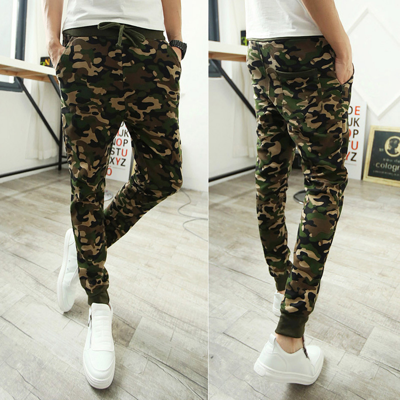 Spring New Style Korean-style Men's Harem Pants Hot Selling Wish Trousers Camouflage Sports Skinny Pants AliExpress
