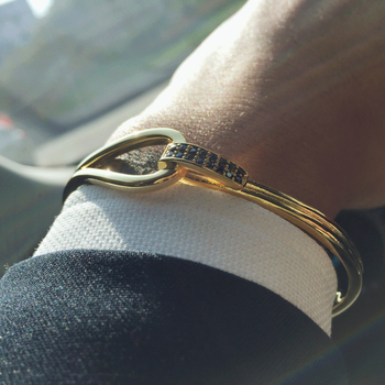 Mcllroy Cuff Men Bracelets Bangle New Men Jewelry steel/Black/Cool Zircon love Cuff Bangles valentine gift pulseira masculina