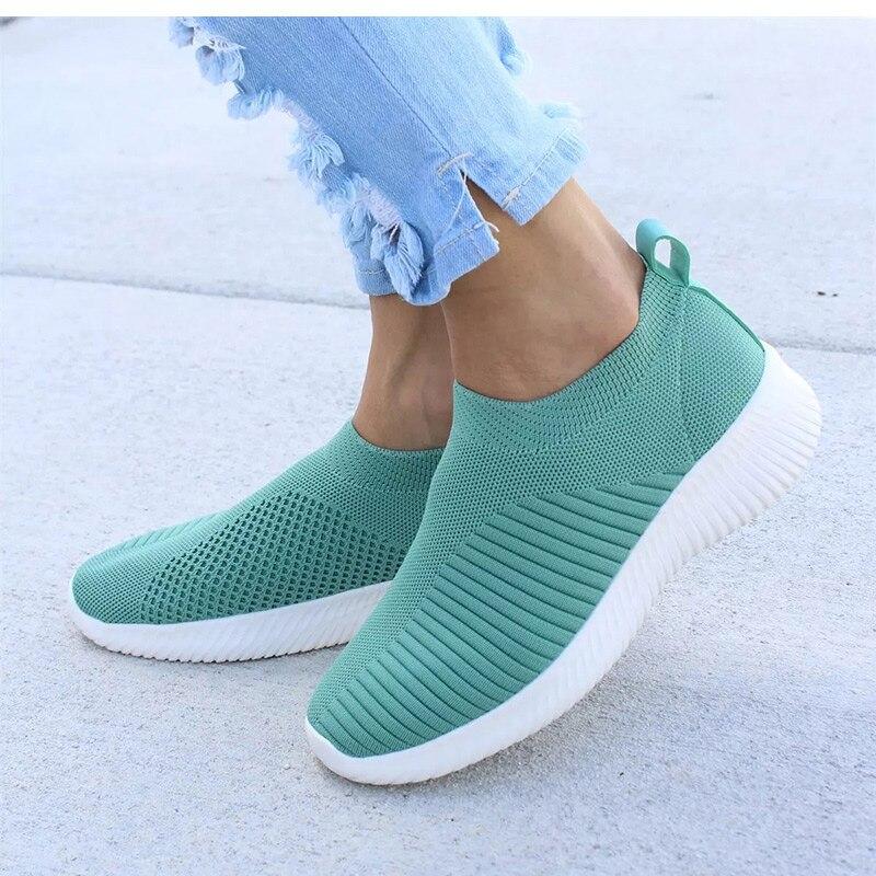 Damskie buty na drutach skarpety trampki kobiety wiosna lato Slip On płaskie buty damskie Plus rozmiar mokasyny mieszkania do chodzenia krasovki