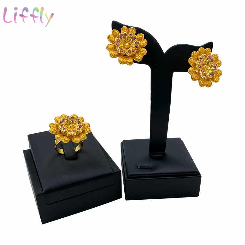 Afrikanischen Schmuck-Set Trendy Kiefer Blume Kristall Große Halskette Ohrringe Armband Ring Ziemlich Dubai Frau Hochzeit Schmuck